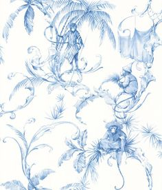 This subtle and unusual wallpaper is named after the 160 Barbary Macaques of Gibraltar, the only free-living/wild monkeys in Europe. It is beautifully intricate, and the hand-drawn design pays homage to this playful species of tailless monkey, which have Monkey Wallpaper, Toile Wallpaper, Animal Wallpaper, Unusual Wallpaper, Oriental Wallpaper, Monkey Pattern, Nina Campbell, Blue Tones, Designer Wallpaper