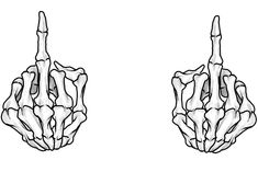 Middle Fingers Up (Skeleton) Art Print by sianbrierley Simple Skeleton Drawing, Skeleton Drawings, Skeleton Tattoos, Skeleton Art, Skull Tattoos, Skeleton Hands, Tattoo Outline Drawing, Outline Drawings, Tattoo Sketches