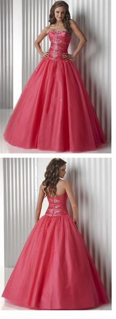 Fascinating Organza Sweetheart Strapless Empire Bodice Ball Gown Prom Dresses FL32