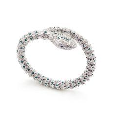 Statement Serpent Bracelet Emerald Green Fashion Bracelets, Fashion Jewelry, Snake Bracelet, Bangles, Beaded Bracelets, Green Fashion, Statement Jewelry, Silver Color, Costume Jewelry
