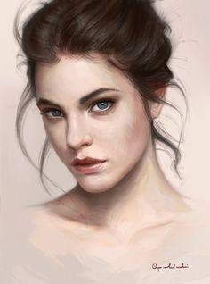 """""""Portrait study"""" - Greg Opalinski {figurative beautiful brunette female head woman face portrait digital illustration #loveart} greg-opalinski.deviantart.com"""