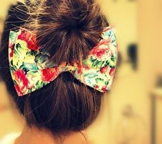 A great bow idea with hair up.
