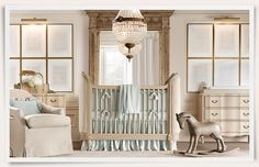 Rooms | Restoration Hardware Baby & Child - I know this is a nursery - but I love the idea of old music framed on the wall!  Maybe in the guest bedroom??