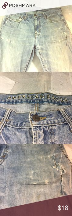 American Eagle Outfitters Men's Jeans Distressed American Eagle Distressed Men's Jeans as shown please note some stains as shown in photos and tears as Shown American Eagle Outfitters Jeans Slim Straight