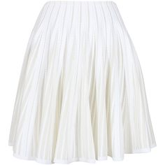 Azzedine Alaïa white flared knit and transparent knit Calypso skirt ($1,690) ❤ liked on Polyvore