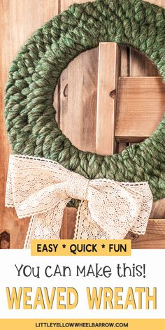 A simple weaved wreath perfect for the holidays. This easy holiday crafting project is the perfect addition to your farmhouse style decorations and ad. Christmas Wreaths To Make, Holiday Wreaths, Winter Wreaths, Spring Wreaths, Summer Wreath, Diy Christmas, Christmas Decorations, Holiday Decor, Wreath Crafts
