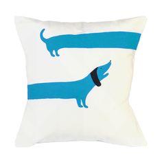 Sausage Dog screen printed cushion! BLUE