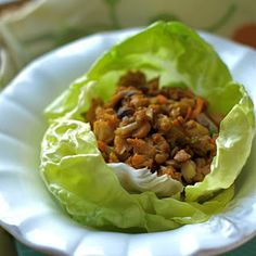 Chicken Lettuce Wraps - The Sensitive Pantry - Gluten-free, Egg-free, Dairy-free, & Vegan Recipes (Vegan Wraps Lettuce) Egg Free Recipes, Whole Food Recipes, Healthy Recipes, Diet Recipes, Paleo Meals, Healthy Dinners, Yummy Recipes, Healthy Cooking, Healthy Eating
