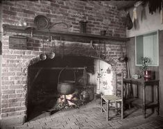 Colonial Victorian Kitchens Cooking Fire Kettle Yarn Cat 1700 1800s Photos Lot…