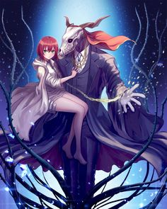 Elias and Chise (The Ancient Magus' Bride - 魔法使いの嫁) Anime Kunst, Anime Art, Kawaii Anime, Elias Ainsworth, Chise Hatori, The Garden Of Words, Tamako Love Story, The Ancient Magus Bride, Chibi