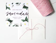 A lush, floral Save the Date card, perfect for the bride looking for a bold and romantic way to announce your union to the world. This listing is