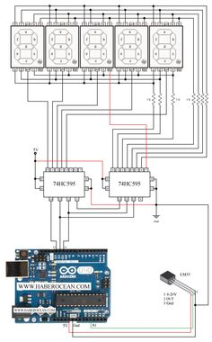 temperature measurement and displaying on five digit common cathode seven segment display using and arduino uno, arduino seven segment display tutorial to measure temperature, Arduino Parts, Arduino Led, Arduino Board, Electronic Engineering, Electrical Engineering, Diy Electronics, Electronics Projects, Computing Display, Arduino Display