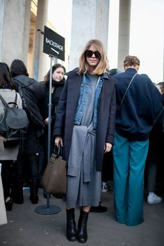 the coat, and colors - blue grey