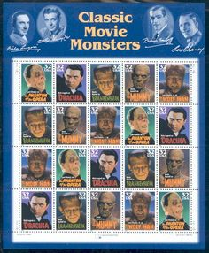 Classic Movie MonstersMint Sheet of 20 StampsUnited States, 1997