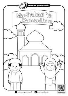 Gambar Mewarnai Ramadhan Diy Coloring Books, Farm Animal Coloring Pages, Easy Coloring Pages, Coloring For Kids, Ramadan Activities, Abc Activities, Transportation Preschool Activities, Preschool Crafts, Poster Ramadhan