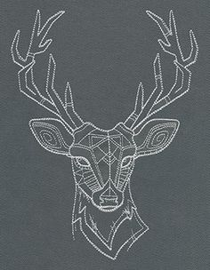 Light geometric stitching makes up a majestic deer head. Pretty on pillows and more!