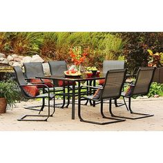 Wallmart Patio Furniture Mainstays Pyros 7 Piece Patio Dining Set Seats 6 Patio Furniture