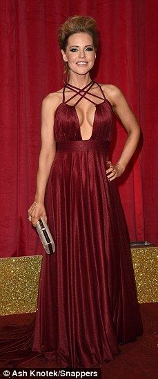 Stephanie Waring in Nadine Mirabi  red gown at the British Soap Awards