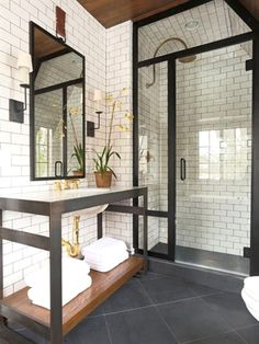 The most interesting about having a modern bathroom is on its simplicity without losing its function. Here, we want to share with you 10 modern bathroom design ideas which will inspire to remodel your old-fashioned bathroom. Industrial Bathroom, Bathroom Interior, Modern Industrial, Bathroom Ideas, Basement Bathroom, Bathroom Wall, Shower Bathroom, Design Bathroom, Shower Ideas