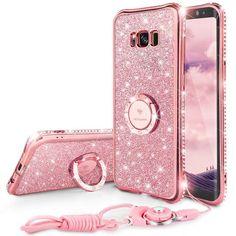 Bling Diamond Case For Samsung Galaxy S8 Case Ring Strap Samsung Galaxy S8 Plus Case Glitter Pink