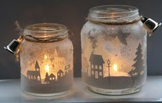 christmas township candle jar - Google Search