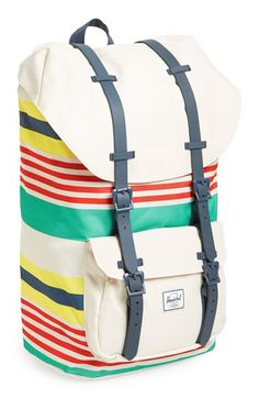 Free shipping and returns on Herschel Supply Co. 'Little America - Malibu' Backpack at Nordstrom.com. Herschel's signature, vintage mountaineering-inspired canvas backpack cinched with rubber belts features breathable, mesh-padded back pods and ergonomic cushioned straps for enhanced carrying comfort.