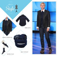Ellen's Look of the Day: button up shirt, blazer and jeans