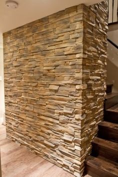 Dry Stack Ledge Stone Stair Feature Wall - for a wide hallway/reception room? Stairs Feature Wall, Stone Feature Wall, Outdoor Wall Sconce, Outdoor Walls, Linden Homes, Wireless Wall Sconce, Stone Wall Panels, Stone Accent Walls, Brick Cladding