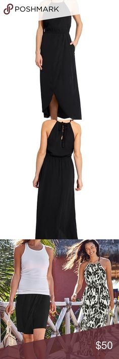 "ATHLETA IKAT RIPPLE HIGH-LOW MAXI DRESS + POCKETS! This unbelievably-lightweight, breezy maxi dress with built-in support & a flattering high neck is perfect for every adventure w/ a breathable, machine-washable fabric. This dress is SO COMFY! Purchased from Athleta, worn once & is now too big 😞   ‼️THIS IS SOLID BLACK‼️  * Semi-fitted w/ adjustable tie neck * Elastic waist * High-low Maxi style * Built-in mesh bra w/ removable cups for extra coverage * POCKETS! 😍 * 55.5"" long * WANDERLUXE…"