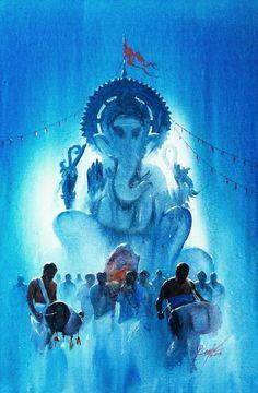 "गणेश चतुर्थी की हार्दिक शुभकामनाऐ ""Welcoming My Ganpati"" Lord Ganesha Paintings, Ganesha Art, Krishna Art, Shiva Art, Festival Paint, Composition Painting, Indian Illustration, Om Namah Shivaya, Indian Art Paintings"