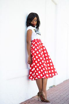 Red Check  Chicwish skirt (c/o here, love this here, more here) // Top (c/o Zuvaa here) // Try this top here // // Christian Louboutin pumps (here, budget friendly here & here)  Fashion By Jadore-Fashion   Women of colour color, Beautiful, Black women, Black girls, Dark skin, Beauty, Black fashion style, Brown women skin girls, Melanin, Ebony, elegant black models public figures bloggers celebrities, elegance, respectful fun style