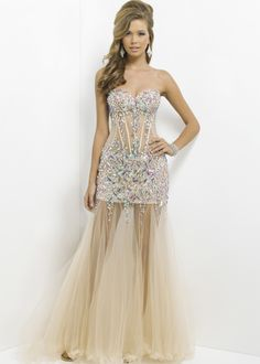 Blush Prom 9700 - AB Pink/Nude Strapless Sweetheart Prom Dresses Online