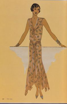 The print of this 1920s dress is so lovely!   1929 taken from Art Deco Fashion, The Pepin Press