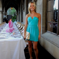 Pretty color dress, her tan makes it pop beautifully!