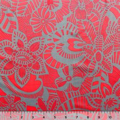 Red and Gray Ethnic Floral Cotton Jersey Knit Fabric