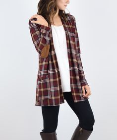 Take a look at this éloges Brown Plaid Elbow-Patch Jacket today!