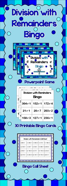 This is a Bingo game powerpoint game to review division with remainder. There are 20 questions and you just click on each question to go to it. Students must solve the problem and check to see if it on their board. The question disappears after you've clicked on it so you know you've answered it. The zip folder includes 1 bingo powerpoint game, call sheet, 30 unique bingo cards and 2 blank cards.