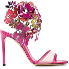 Casadei flower embellished sandals       |  ≼❃≽  @kimludcom
