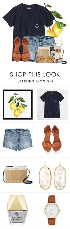 """""""Just straightened my hair! Pic in items"""" by flroasburn ❤ liked on Polyvore featuring Pottery Barn, J.Crew, Madewell, Kate Spade, Kendra Scott and Ray-Ban"""