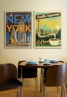 PERFECT for me! My two favorite cities, New York City and Seattle! I'm thinking about hanging art on my walls with #retro #art like this of all my favorite places. I'd probably add in a #vintage San Francisco and maybe one for Chicago too.