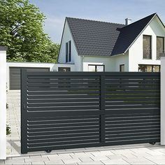Use our standard or bespoke configurator to choose your EMALU sliding gate BRAGA. Mister Gates Direct is UK's number one for aluminium gates and gate automation. Metal Driveway Gates, Modern Driveway, Electric Driveway Gates, Wood Gates, Driveway Repair, Metal Gates, Gate Designs Modern, Modern Fence Design, House Main Gates Design