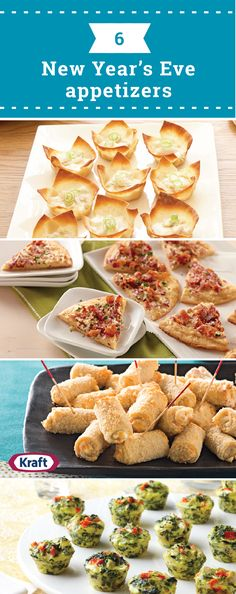 6 New Year's Eve Appetizers – Celebrate the new year with friends, family and these tasty appetizer New Year's Eve Appetizers, Yummy Appetizers, Appetizer Recipes, Appetizer Ideas, Christmas Appetizers, Party Food And Drinks, Party Snacks, New Years Eve Food, New Year's Food