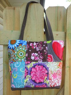 Patchwork Quilted Handbag Tote Bag  Floral prints by Joanna1966,