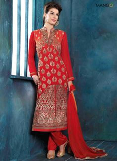 STEALING TOMATO RED GEORGETTE SALWAR SUIT  CODE:-6658 PRICE:-3399/-