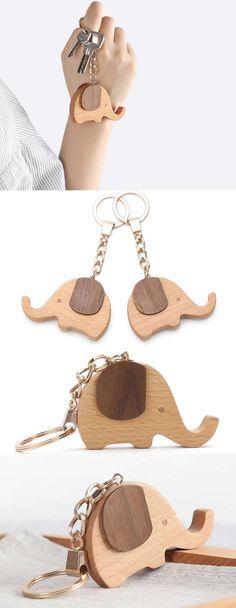 Wooden Elephant Shaped Keyring Keychain bag Ornament - Wood Elephant Shaped Christmas Ornament, Animal Shaped Keyring Keychain Ornament for keys,bag