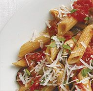 Vegetarian Penne alla Puttanesca. Note: I am sure this will taste great with rice based pasta too.