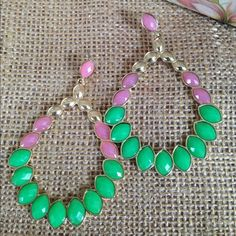 Pink Green and gold Dangle Earrings Pink Green and gold Dangle Earrings Jewelry Earrings