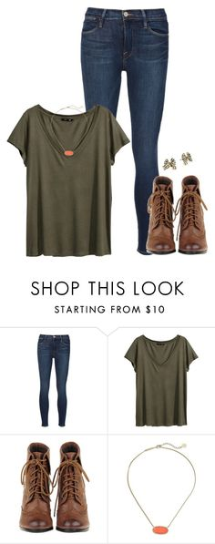 """Untitled #928"" by thatprepsterlibby ❤ liked on Polyvore featuring Frame Denim, H&M, Kendra Scott and Kate Spade"