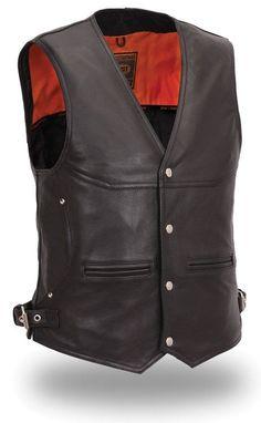 Mens Black Leather Deep Pocket Naked Motorcycle Vest 8d9c702ff2e