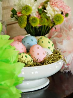 How to Make Sparkling Polka Dot Easter Eggs: http://www.hgtv.com/holidays-and-entertaining/9-easter-decorating-ideas/pictures/page-7.html?soc=pinterest